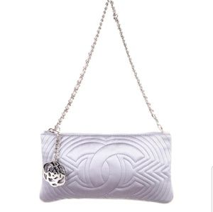 100% authentic lavender satin Chanel evening bag